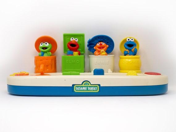 Sesame Street Pop Up Sound Toy Elmo Ernie Cookie Monster Big Bird Tyco Preschool
