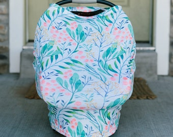 3-in-1 Stretchy Baby Nursing Cover, Car Seat Canopy, and Shopping Cart Cover (LEAFY MOD)