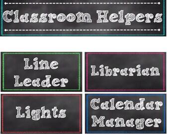 Classroom Helpers / Jobs in a Chalkboard Theme