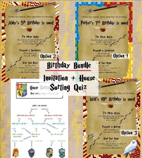 Harry Potter Birthday Party Invitations Printable 5x7
