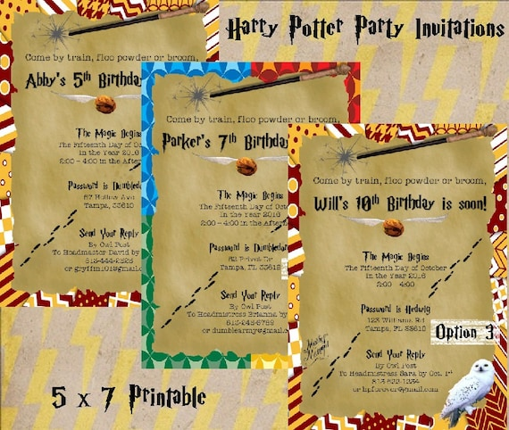 Harry Potter Birthday Party Invitations Printable 5x7