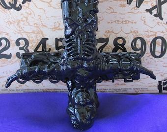 Upside Down Doll Cross, Art, Decor, Gothic, Occult, Satanic