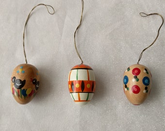 Three Easter Eggs, Miniature, Wood, Hanging, Painted, Colorful, Gift, Vintage