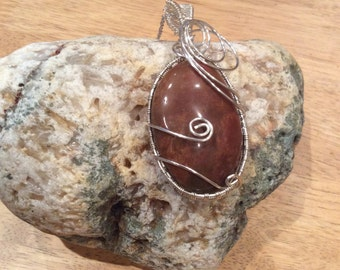 Silver plated wire wrapped stone pendant