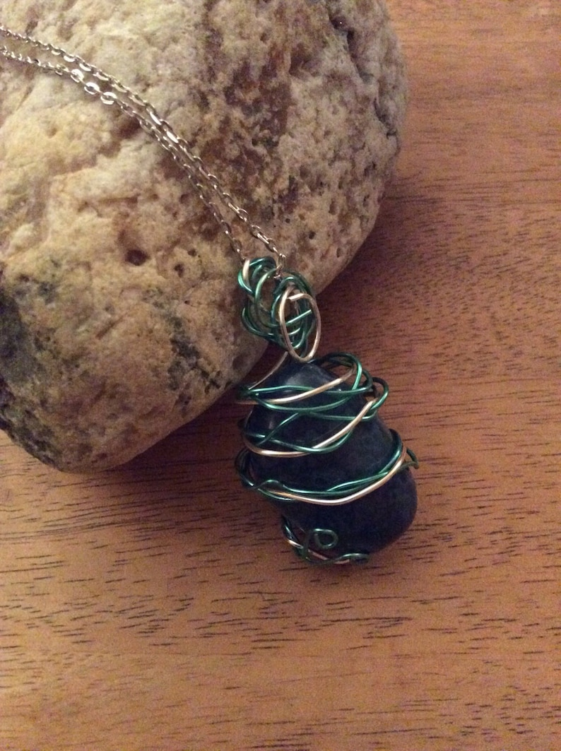 Blue agate wire wrapped with blue and silver plated wire pendant