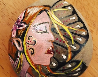 Hand painted fairy stone