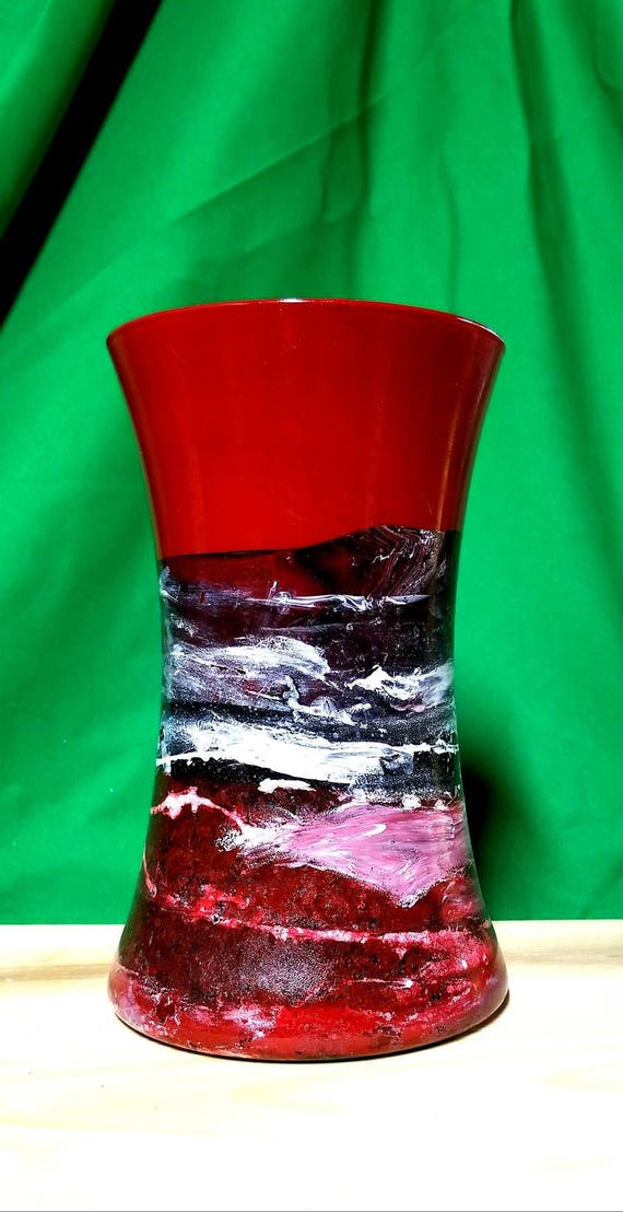 Modern Red Vaseblack Red Glass Vasemodern Red Vasemodern Etsy