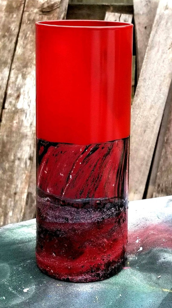 Red Glass Vasemodern Red Vaseblack Red Glass Vasemodern Etsy