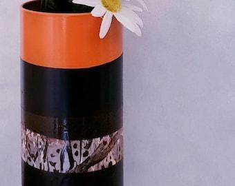 Orange Black Vase