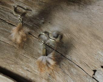 Beaver Fur Earrings - Recycled Fur - Genuine Beaver Fur - Short Fur Tassel - Antique Brass Earrings - Red Beaver Earrings - Canadian Beaver
