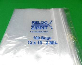 """100 Pack of 6/"""" x 15/"""" Reclosable Resealable Clear Zip Lock Poly Plastic Bags 2Mil"""