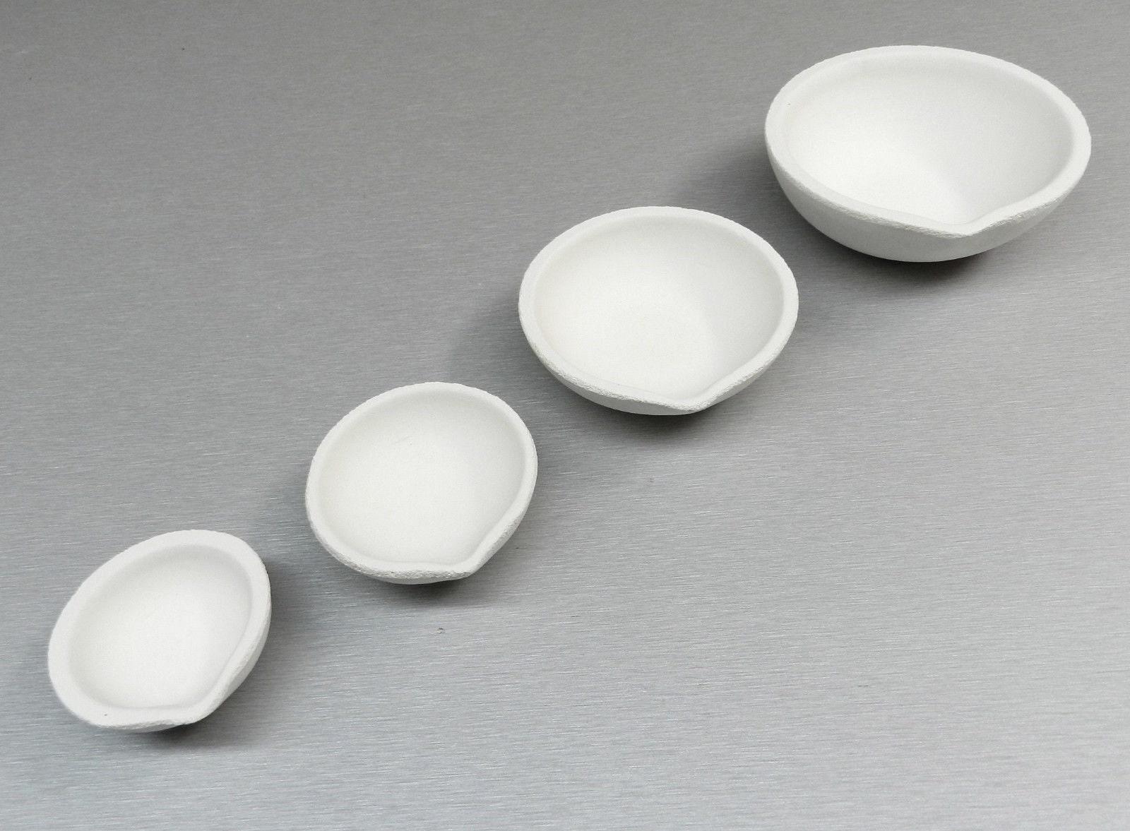 Céramique fonte plat creusets coupe silice ensemble 4 taille taille taille bijoux en argent or coulée (15E) 2ac814