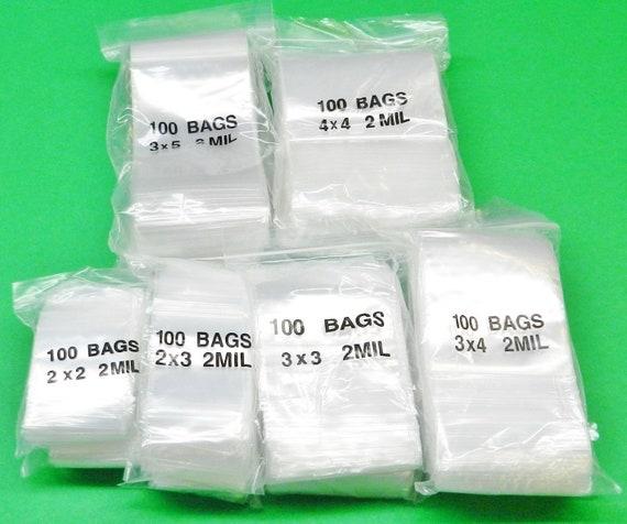 "200-3/"" x 4/"" 3x4 Zip Lock Ziplock Plastic Bags 2 MIL storage shipping supplies"