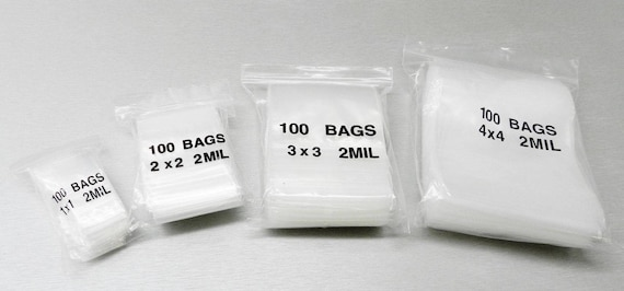 """400 ZIPLOCK BAGS SMALL SQUARE ASSORTMENT SIZES 4 ASSORTED 2MIL CLEAR 1/"""" 2/"""" 3/"""" 4/"""""""