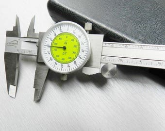 "iGAGING Fractional Dial Caliper 6"" Inside Outside Depth Guage Reads 0.01 - 1/64"" (13E)"