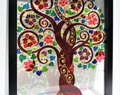 Tree of life 15x12 Glass painting Bohemian decor Wall art Window art Etsy Stained glass Glass art Modern art Sun catcher Family tree