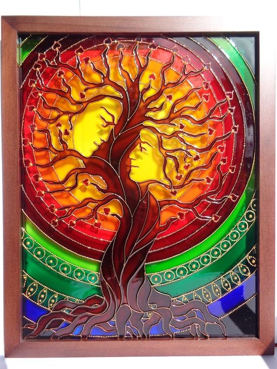 Baum Art Stammbaum Kunst Liebe Baum Glasmalerei Gemalt Glas Etsy