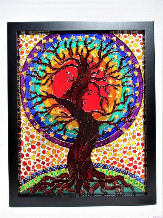 Baum Des Lebenskunst Baum Der Liebe Glas Gemalde Gemalt Glas Etsy
