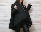 NEW Extravagant Winter Jacket Black Jacket Windproof Jacket Winter Extravagant Coat Oversized Asymmetrical Coat by FabraModaStudio