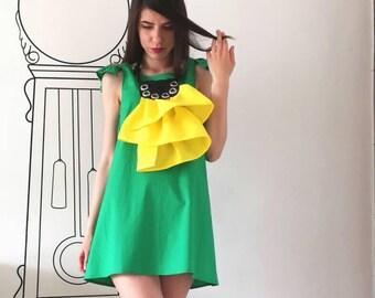 NEW Green Dress / Mini Green Dress / Summer Dress / Sleeveless Dress by FabraModaStudio / FBG006