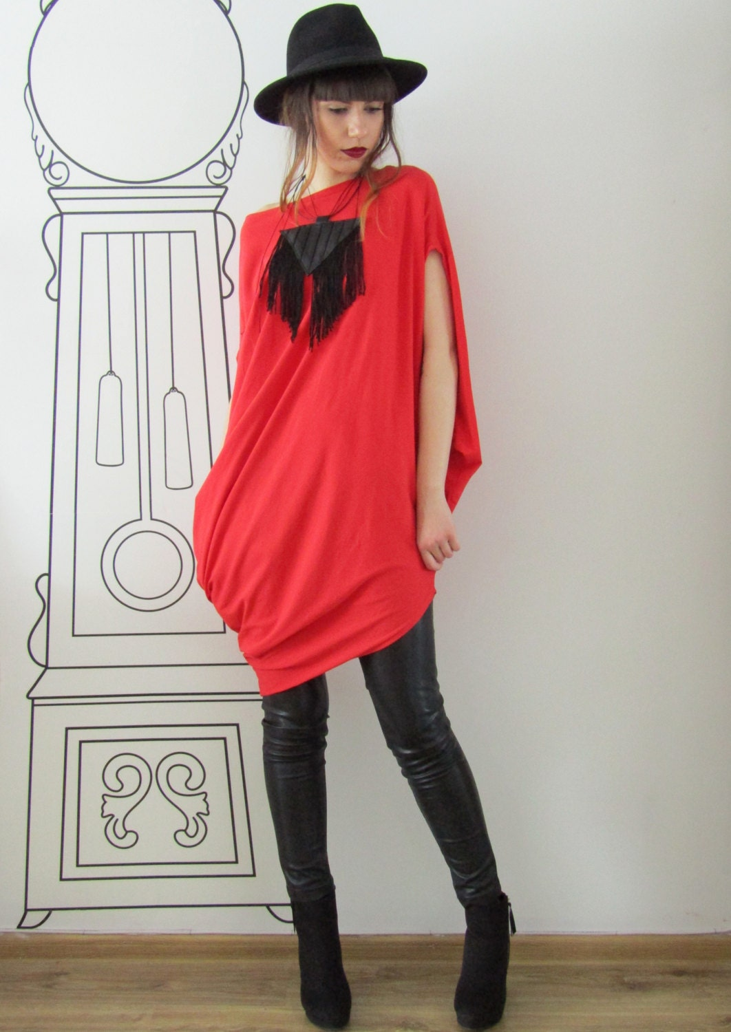 8b343058773 Extravagant Asymmetrical Red Tunic Top / T712
