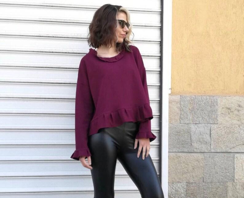 NEW Purple Blouse  Loose Sweatshirt  Blouses Woman  Blouse Girl  Extravagant Blouse Sweatshirt Women by FabraModaStudio  FAB776