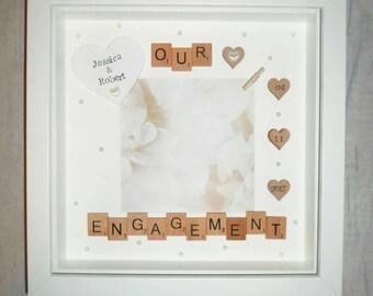 engagement picture frames engraved engagement giftengagement photo framepersonalised giftour framescrabble framecouples gifthis hers gift frame etsy