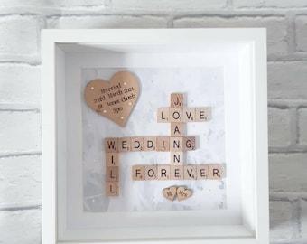 Personalised Wedding Gift, Wedding Frame,Scrabble Frame,Wedding Gift,Engagement Gift, Anniversary Frame,Mr&Mrs Gift,Gift For Couples