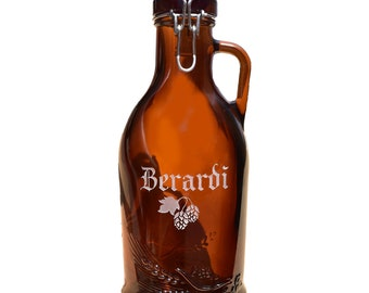 Personalized Beer Howler, Amber Beer Howler, 32 oz Growler, Glass Howler, Howler Beer Bottle, Engraved Beer Jug, German Beer Bottle