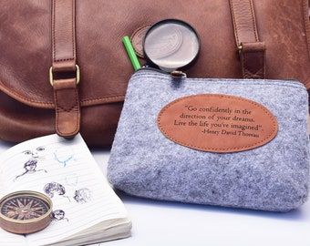 Personalized Travel Bag, Traveler Gift, Pencil Bag, Makeup Bag, Engraved Hand Bag, Travel Gift for Him, Travel Gift for Her, Quote Purse
