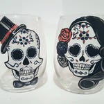Set of 2 Sugar skull hand Painted wine glasses and coffee mugs, coco, day of the dead