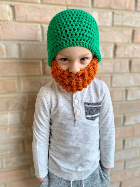St Crochet Clover Patrick/'s Day Leprechaun Beanie Hat with Unattached Beard