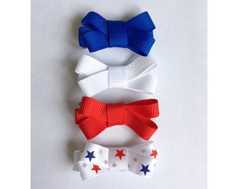 4th of July Mini Bows Set | mini 4th of July hair bows, red, white, and blue mini hair bows, mini 4th of July hair clips, mini hair bows