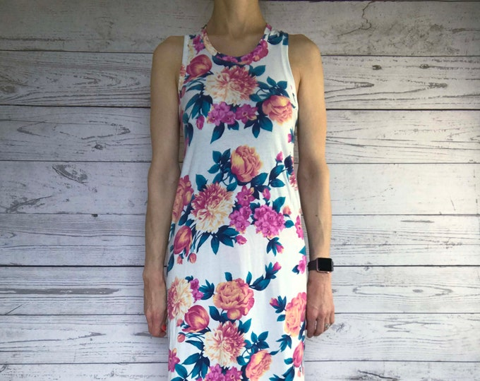 Racerback Maxi Dress - Floral Sundress - No Fuss Dress - Floor Length Dress - Anniversary Date Night Outfit - Easy Wear Casual Chic Style