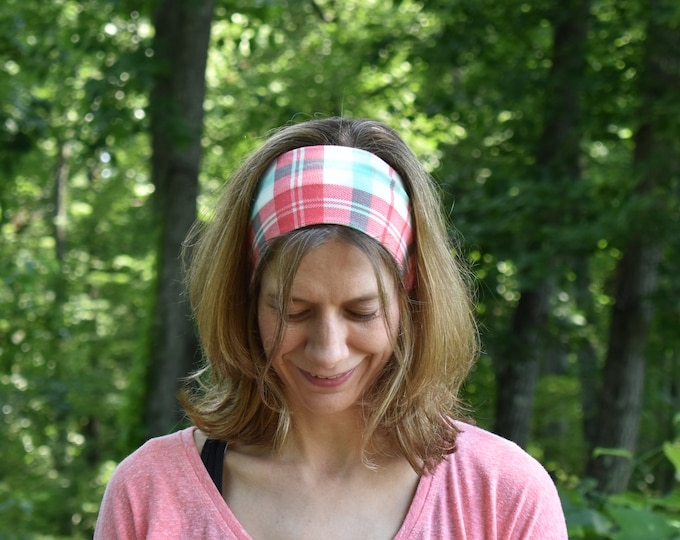 Pastel Plaid Headband - No Headache Hairband - Pink and Aqua Hair Accessory - Spring Style - Plaid Pattern Headpiece - Birthday Gift for Her