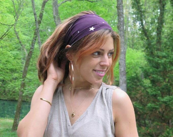 Purple with White Stars Headband