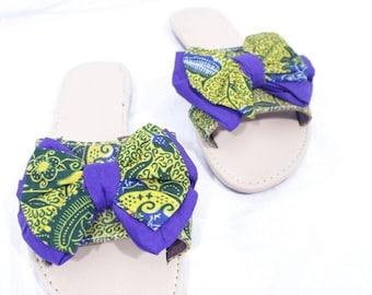 8b57cef660af30 Africa Print Ankara Bow Tie Sandals