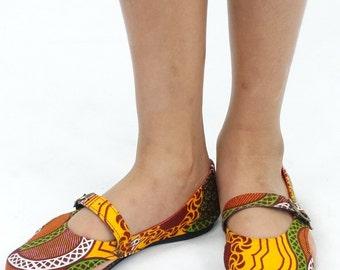 Africa Inspired Wax Print Anakara Girls  Flat Shoes
