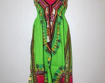 Dashiki  Africa Tribal Print Women Halter Neck Bare Back Summer Causal Dress
