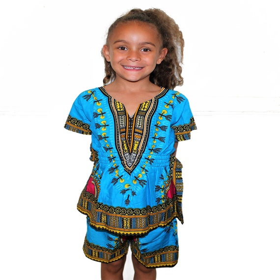 Red Kids Unisex Dashiki Africa Tribal Print  Festival Kaftans Causal Set Shirt and Short