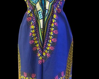 Dashiki  Africa Tribal Print Women Halter Neck Bare Back Summer Bach Causal Dress