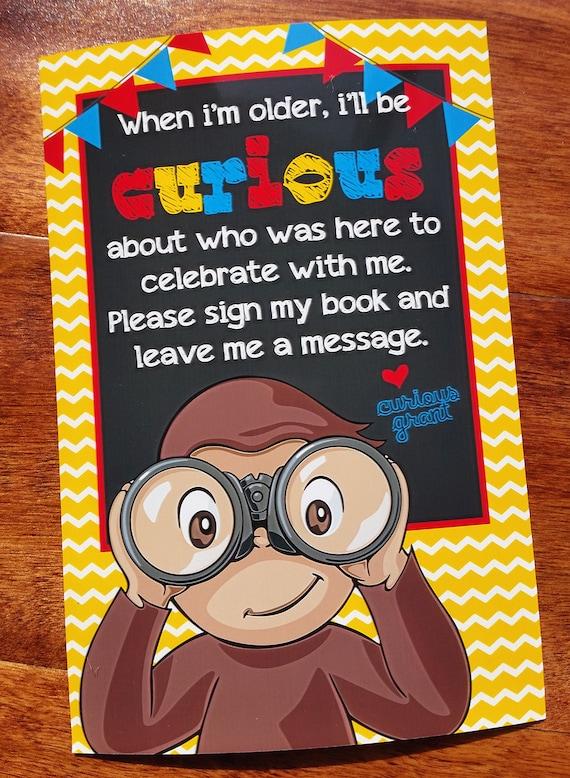 Curioso George Bundle Invitación De Cumpleaños Tarjeta De Gracias Invitado Libro Signo Y Decoración De La Mesa