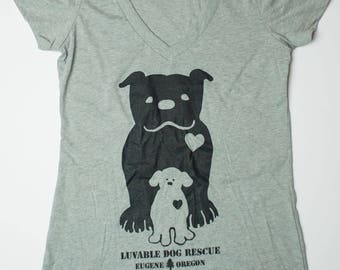 Luvable Dog Rescue Women's Gray V-Neck T-Shirt