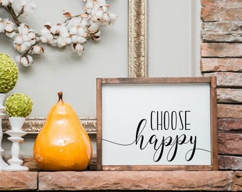 Choose happy sign, choose happy, framed sign, wood sign, wooden sign, framed wooden sign, home decor sign, sign, gallery wall