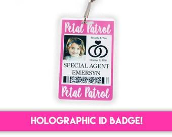 Flower Girl / Petal Patrol ID Badge with Reel or  Lanyard - Flower Girl Accessory / Flower Girl Gift Alternative