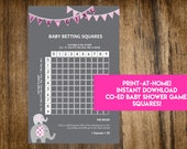 INSTANT DOWNLOAD It's A Girl Baby Betting Squares: Elephant Co-Ed Baby Shower Game Printable - Print-at-Home PDF Printable