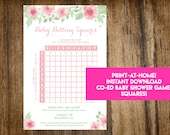 INSTANT DOWNLOAD Floral Baby Betting Squares: Co-Ed Baby Shower Game Printable - Print-at-Home PDF Printable