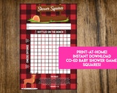 INSTANT DOWNLOAD Lumberjack Shower Squares: Co-Ed Baby Shower Game Printable - Print-at-Home PDF Printable