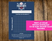 INSTANT DOWNLOAD Team Boy Baseball Shower Squares: Co-Ed Baby Shower Game Printable - Print-at-Home PDF Printable