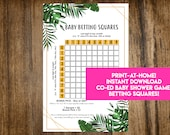 INSTANT DOWNLOAD Palm Leaves Baby Betting Squares: Co-Ed Baby Shower Game Printable - Print-at-Home PDF Printable